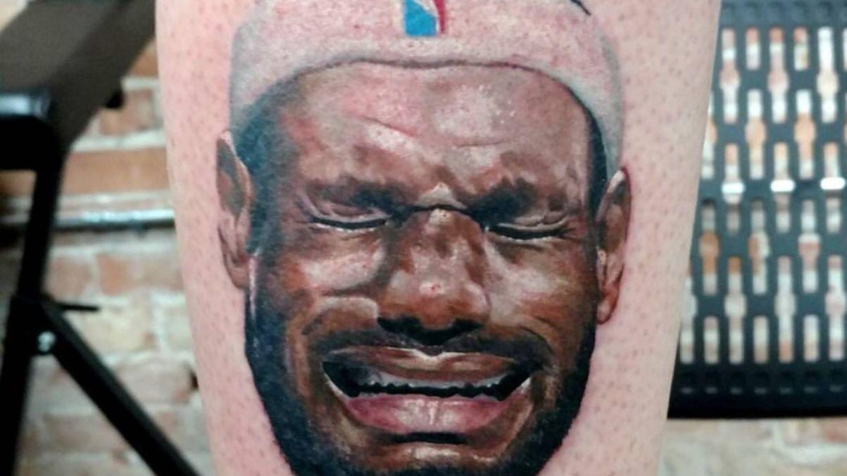 Jordan fan has crying LeBron tattooed to leg