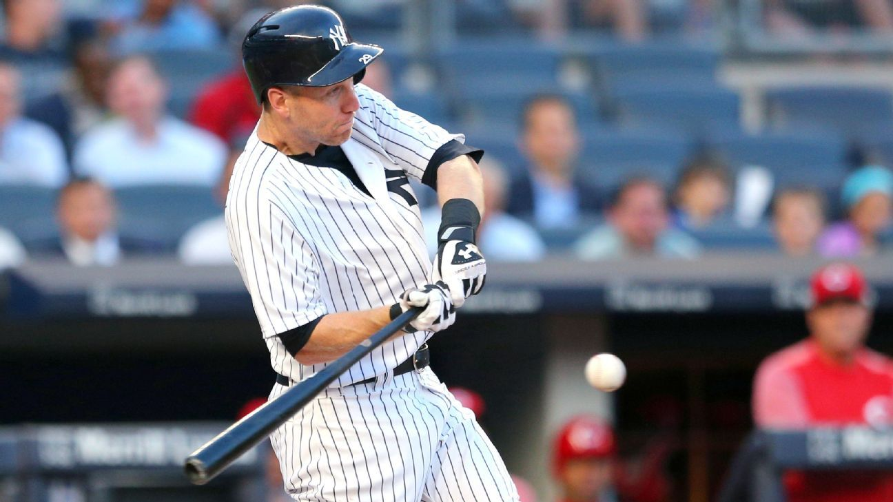 Todd Frazier of New York Yankees hits into triple play in first at bat at home