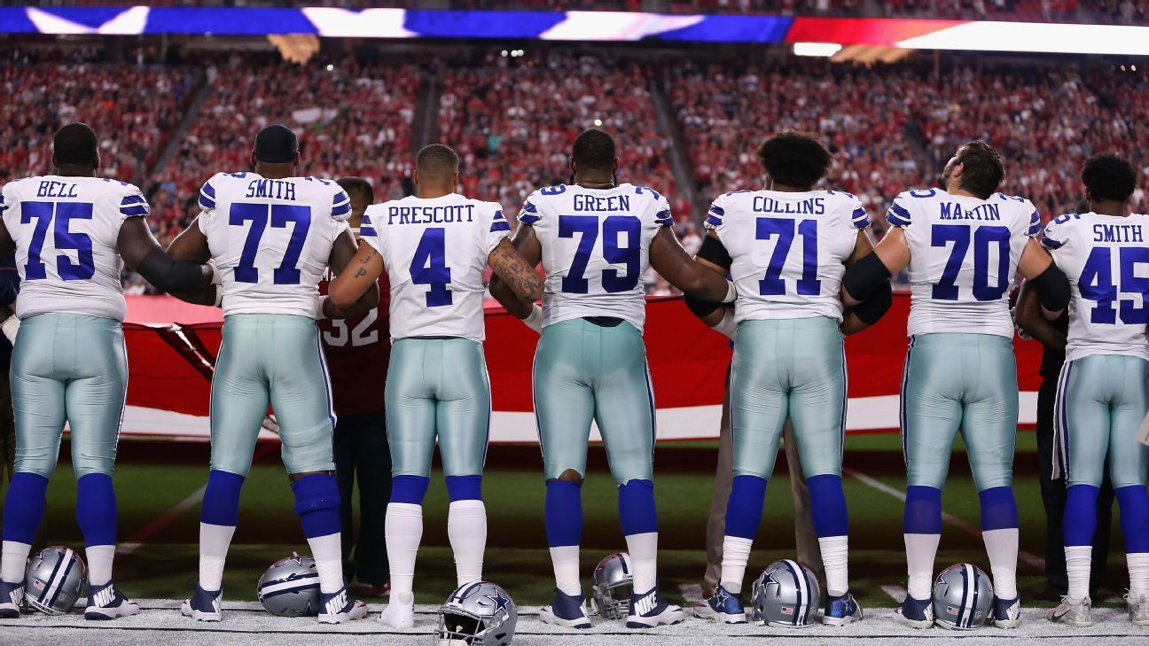 Cowboys, Cards lock arms before MNF game