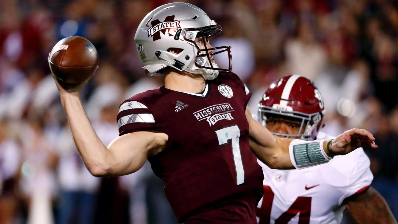 Nick Fitzgerald of Mississippi State Bulldogs exits with leg injury