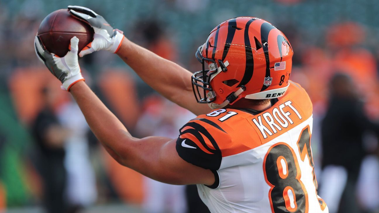 Tyler Kroft has a broken bone in his foot and will be sidelined for at least two games, becoming the latest Bengals tight end to suffer an injury.