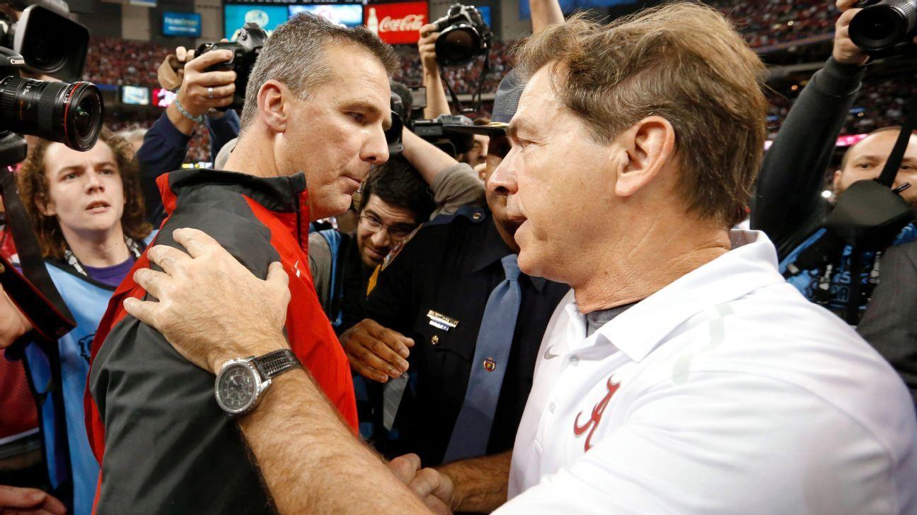 Alabama Crimson Tide coach Nick Saban, Ohio State Buckeyes coach ...