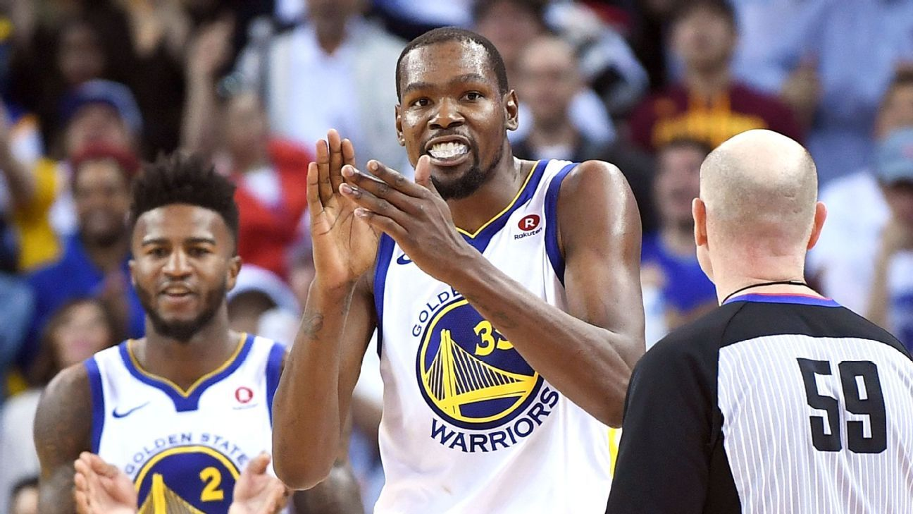 Warriors Kevin Durant on the Cavaliers trying to get him ejected on ...