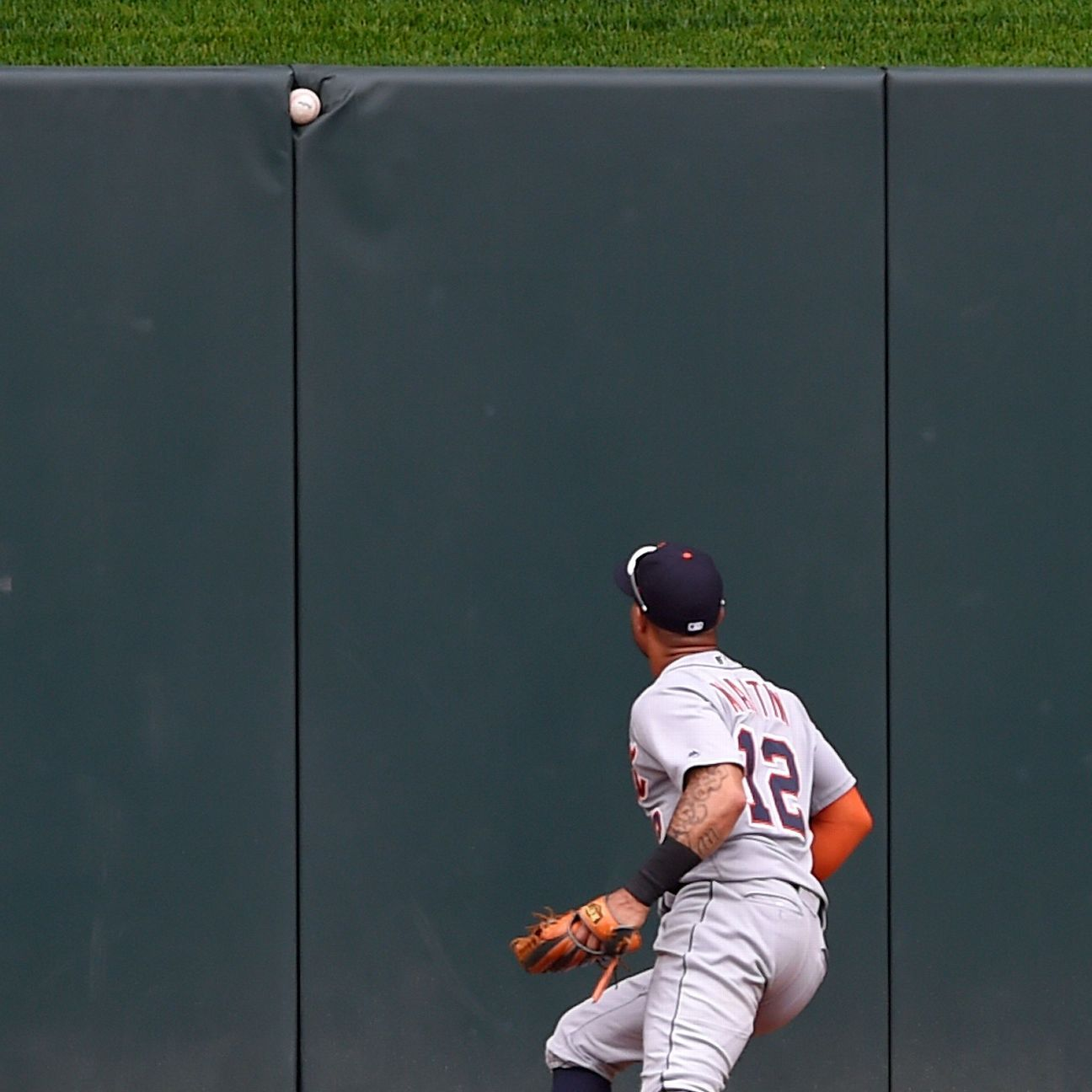 Dozier just misses HR as ball sticks in wall