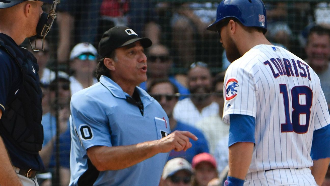 A discussion of plate umpire Phil Cuzzi's strike zone led to Cubs veteran Ben Zobrist's first career ejection on Tuesday after he remarked that players would prefer an electronic strike zone.