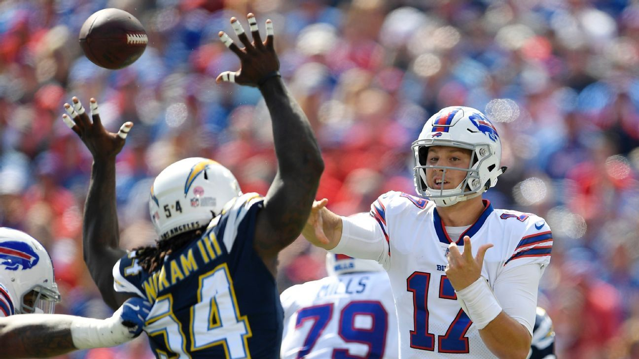 Rookie Josh Allen had a touchdown pass but two interceptions in his first start for the Bills, while running back LeSean McCoy was banged up.