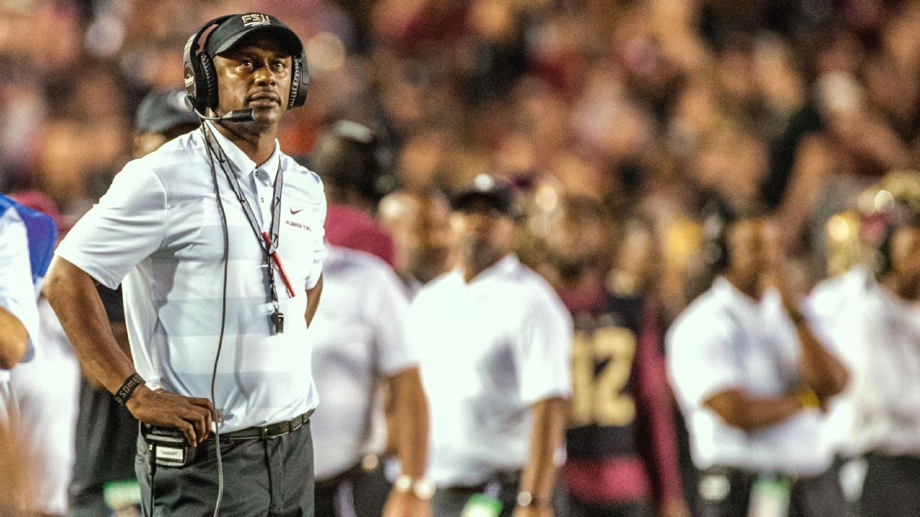 Florida State coach Willie Taggart asked fans to stick with him and the program during his weekly news conference Monday, after a rocky 1-2 start has raised questions about where the Seminoles are headed.