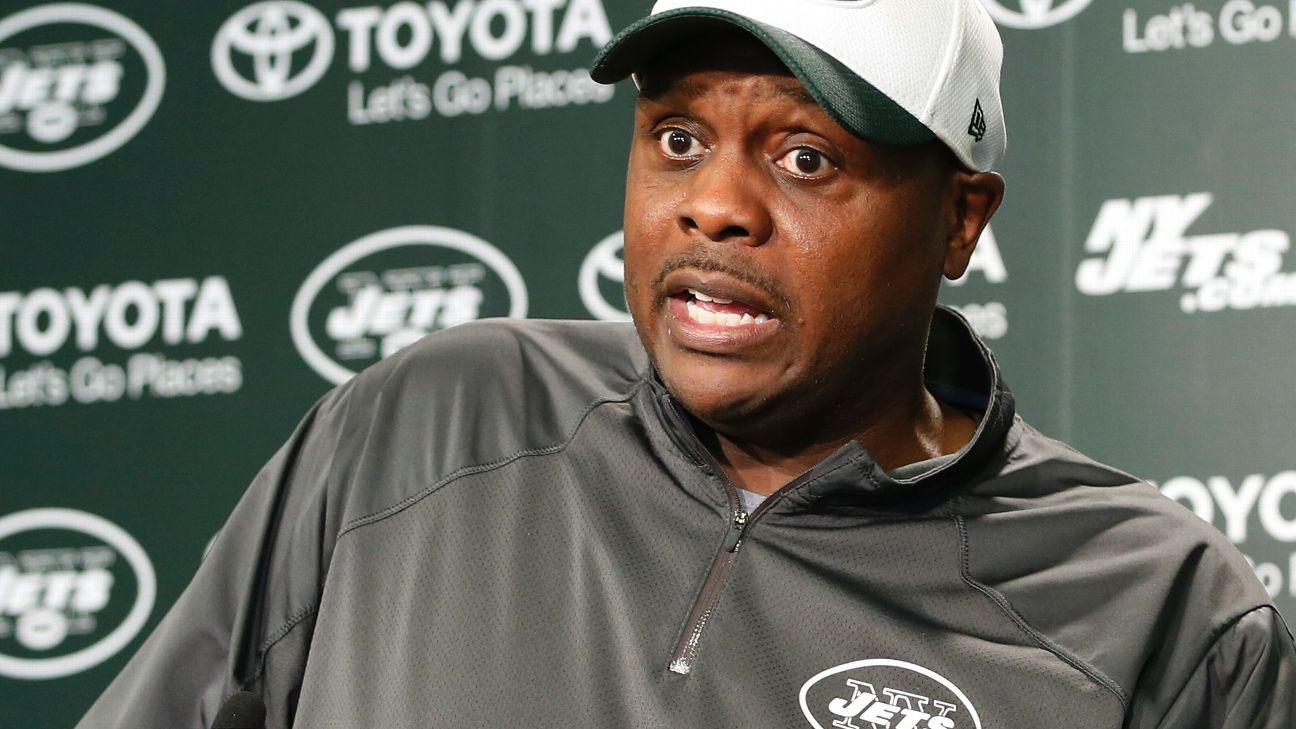 New York Jets defensive coordinator Kacy Rodgers walked into the interview room Thursday, stepped behind the podium and flashed a big smile.