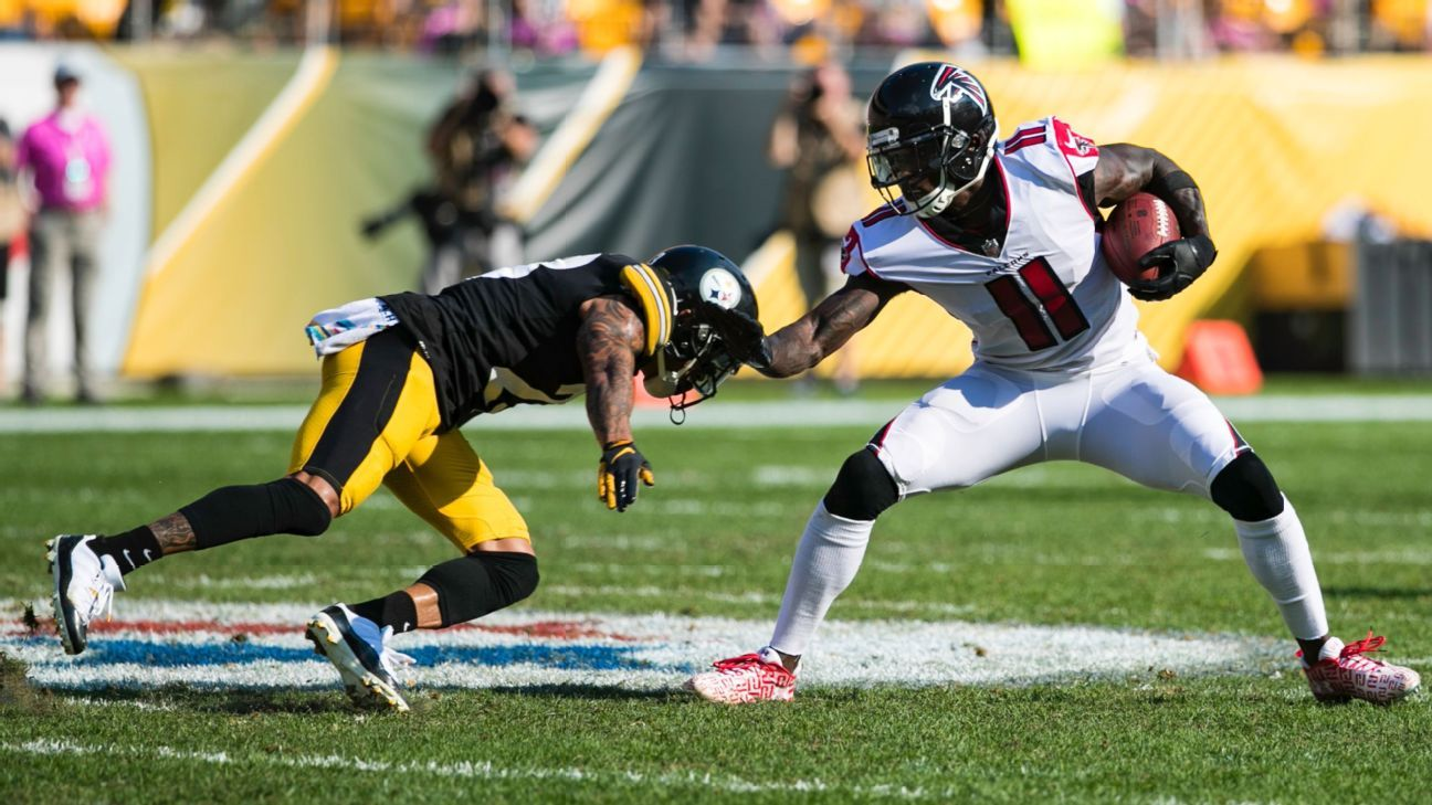 Atlanta's star receiver went three quarters without a catch in its Week 5 loss at Pittsburgh, but no one seems to be concerned -- yet.