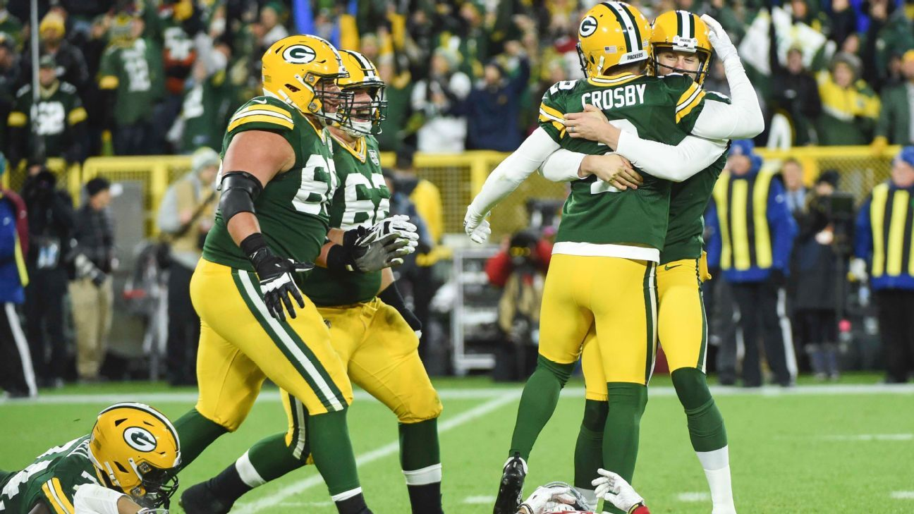 A week after 5 misses, Crosby wins it for Packers