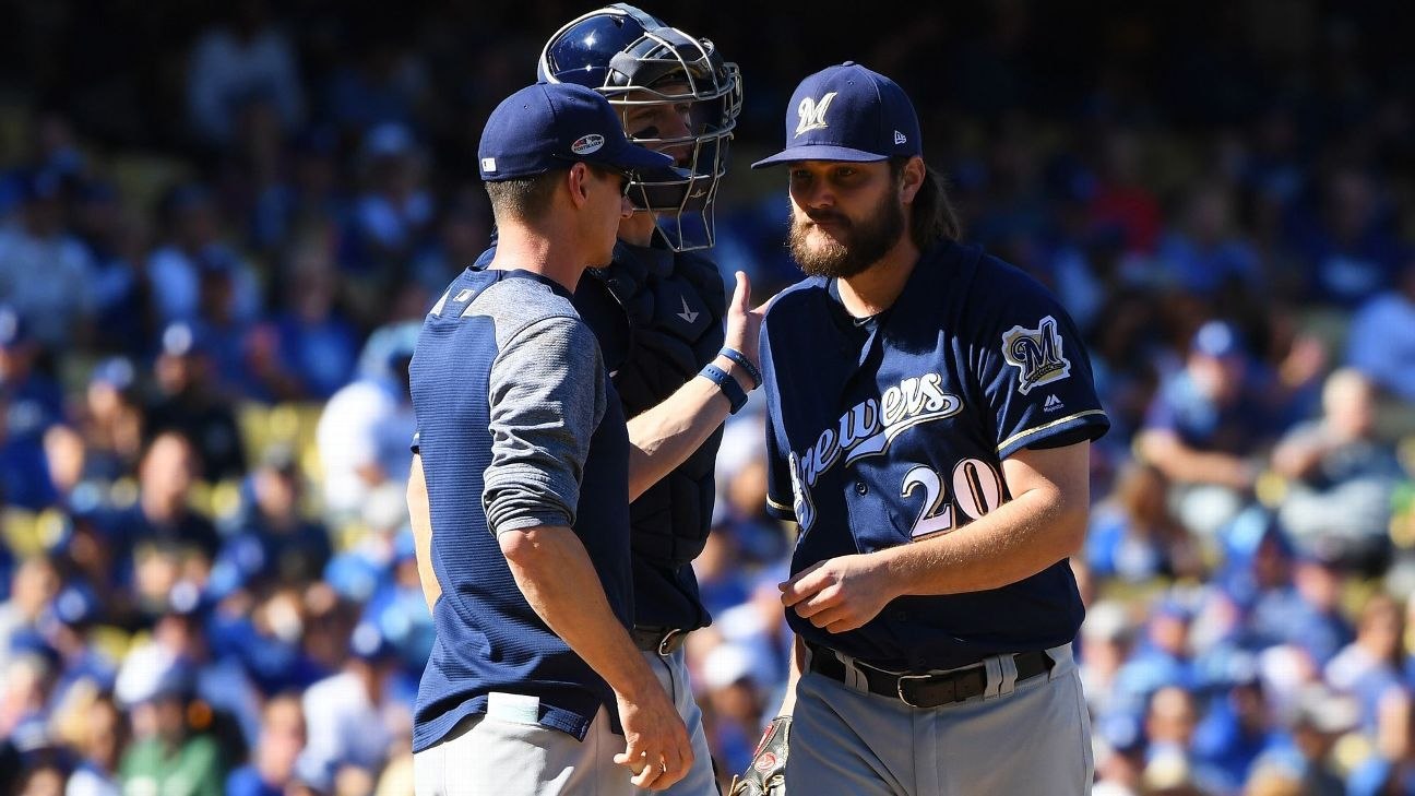 Brewers' Wade Miley gambit fails as Dodgers win Game 5