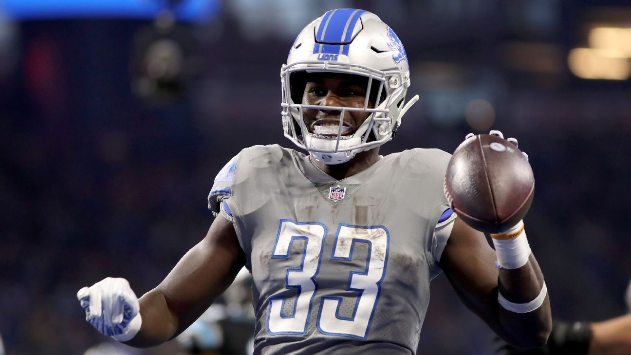 Lions running back Kerryon Johnson and wide receiver Marvin Jones are out against the Bears.