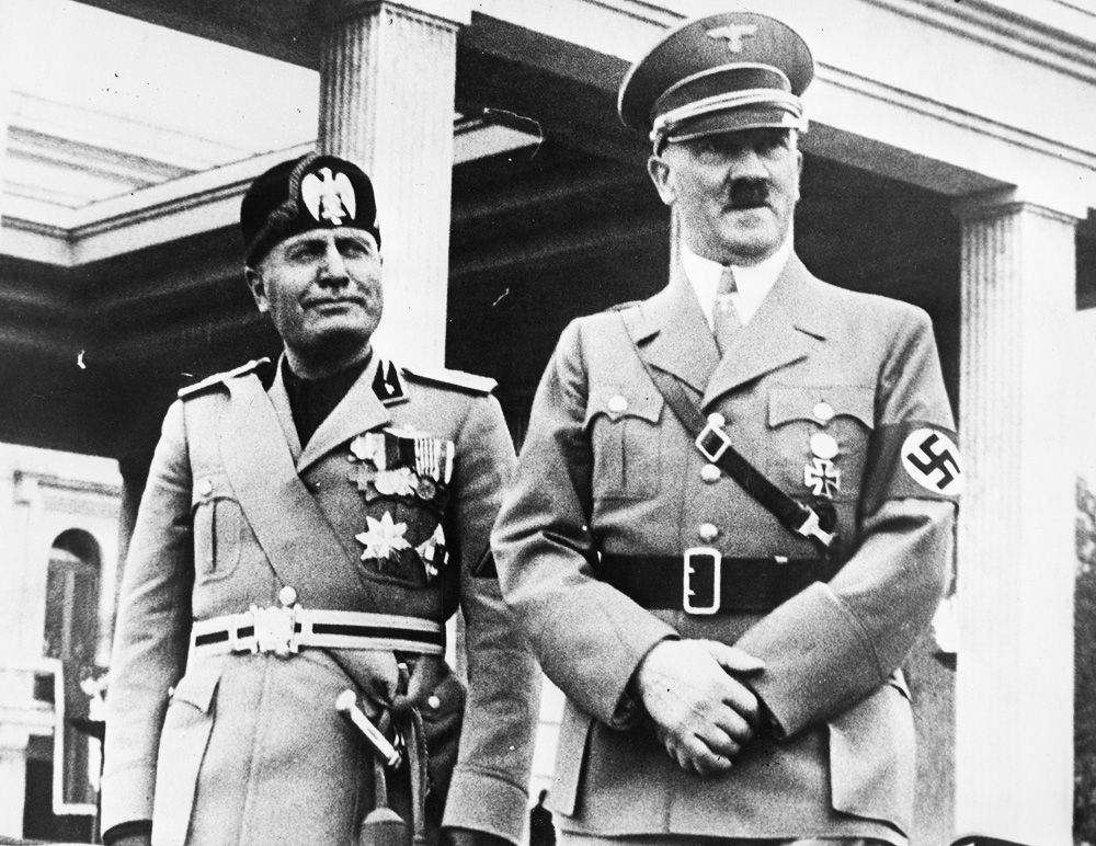Benito Mussolini and Adolf Hitler