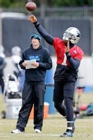 QB Newton works with first team in practice