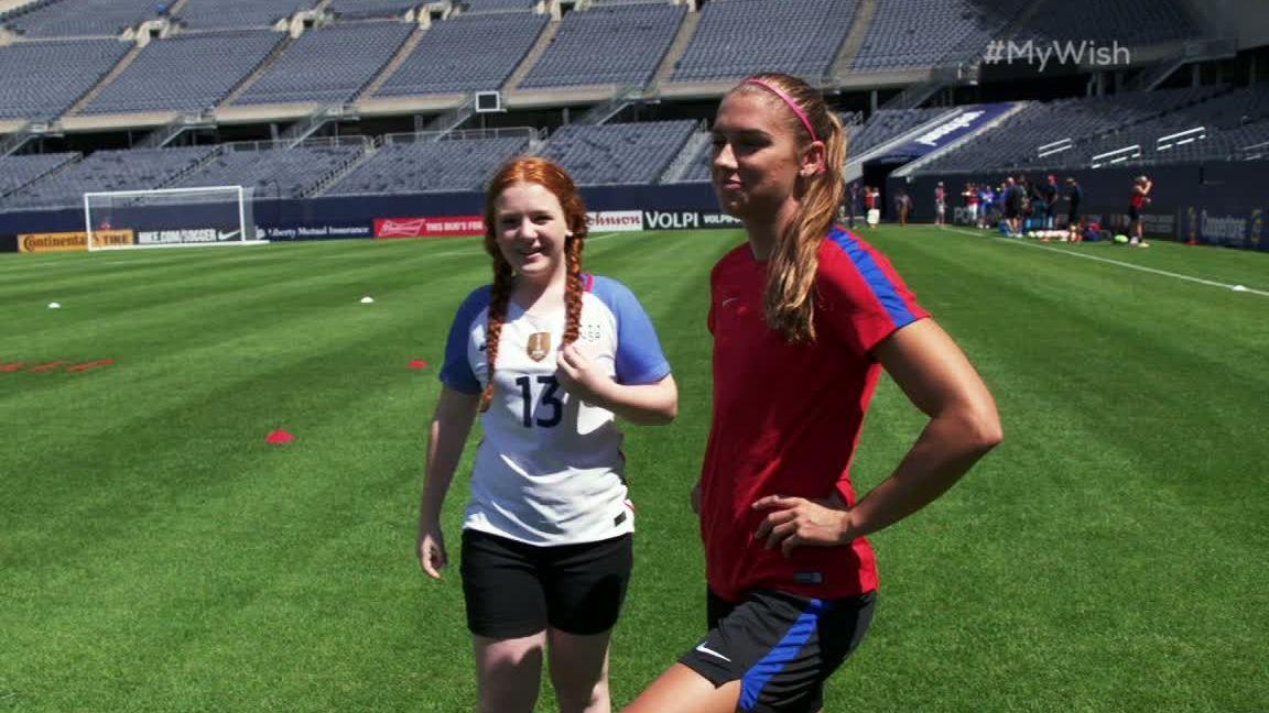 My Wish: Mackenzie takes the field with Alex Morgan