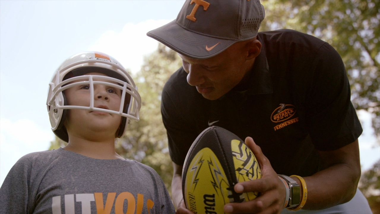 Joshua Dobbs' special bond with 6-year-old cancer survivor