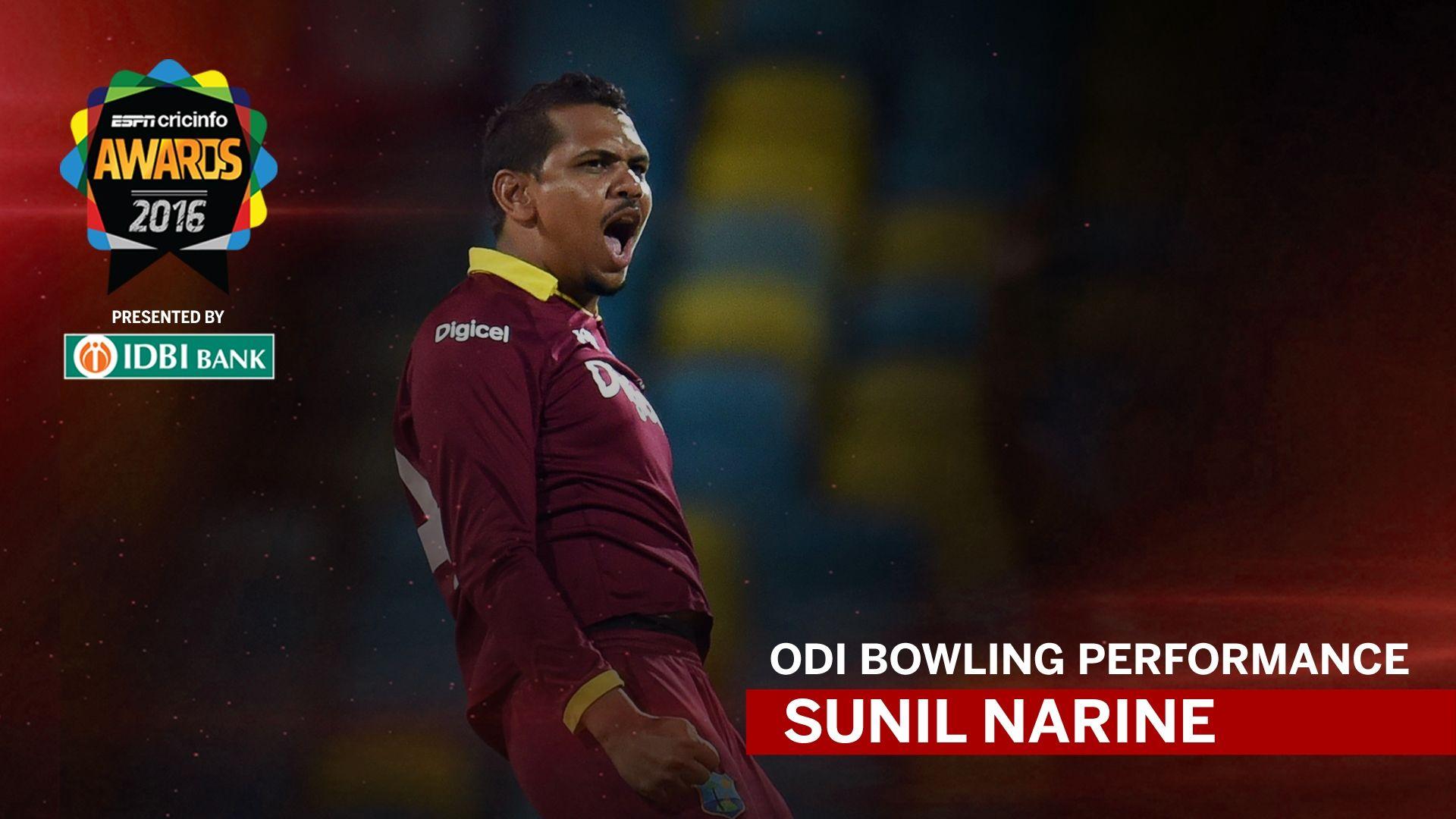 espncricinfo awards 2016 odi bowling winner sunil
