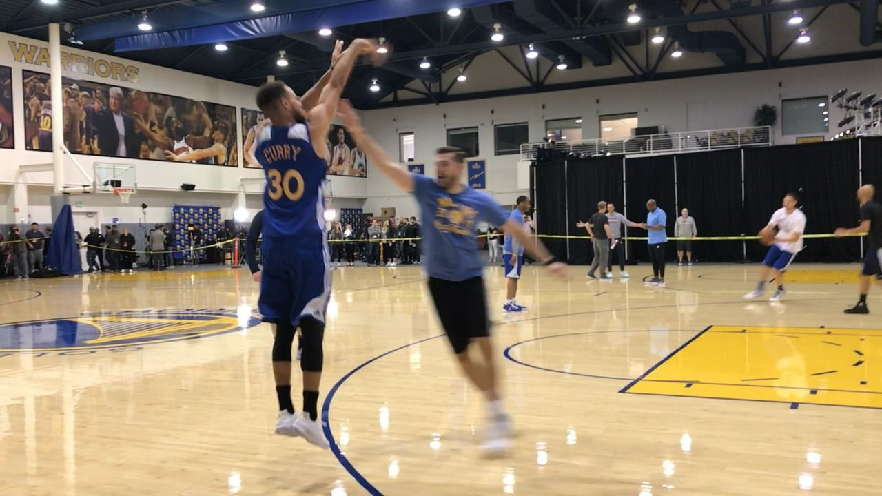 Curry, KD and Klay get some practice in for Game 5