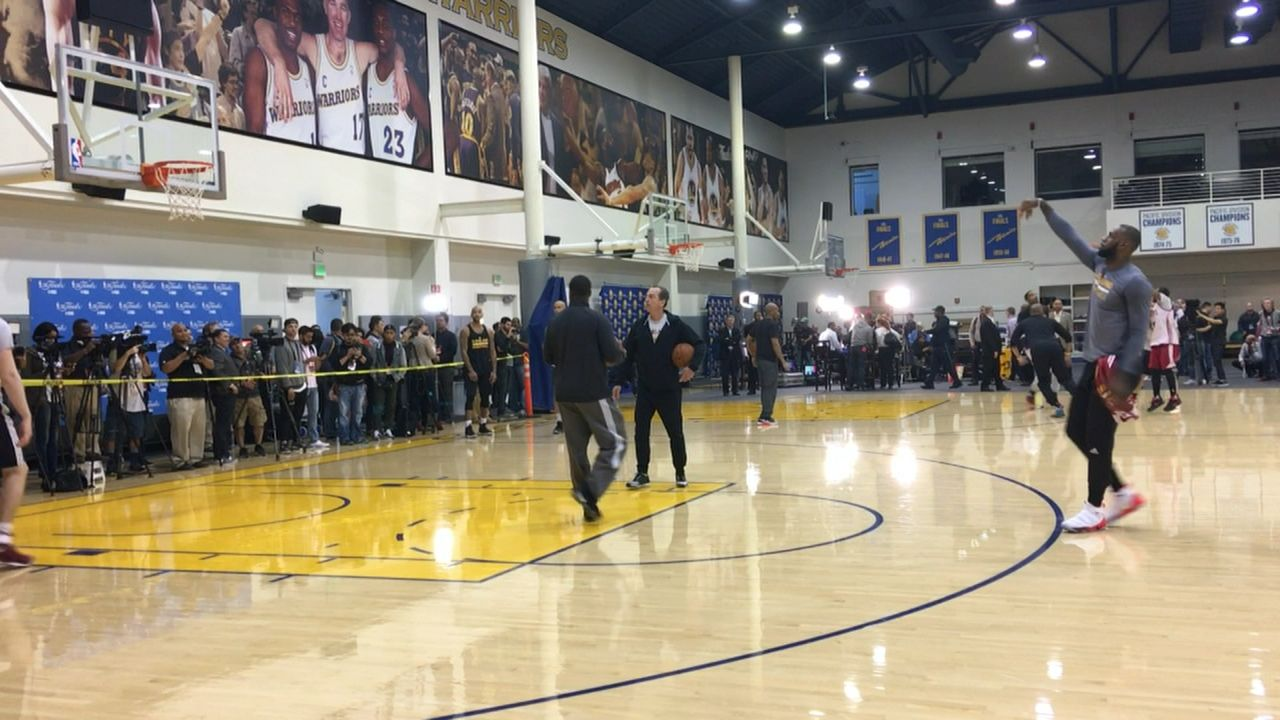 LeBron practices from long distance