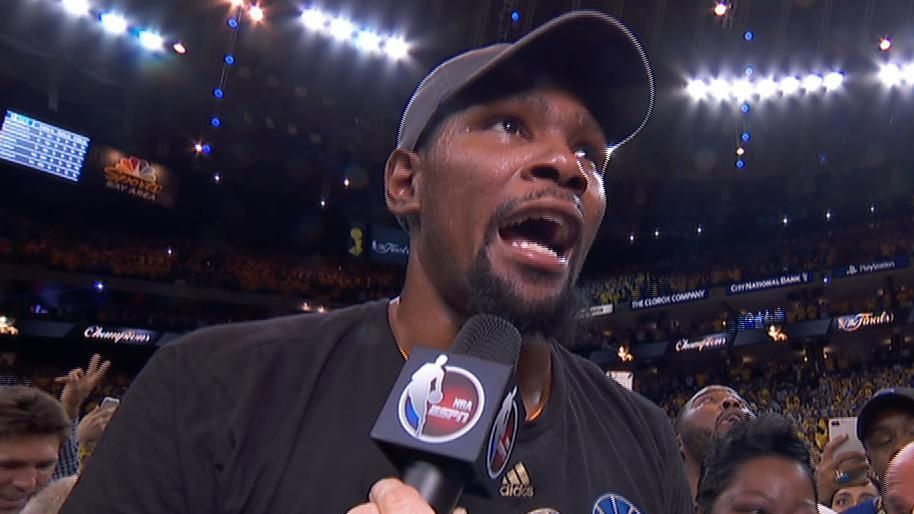 Durant unleashes victory roar after win