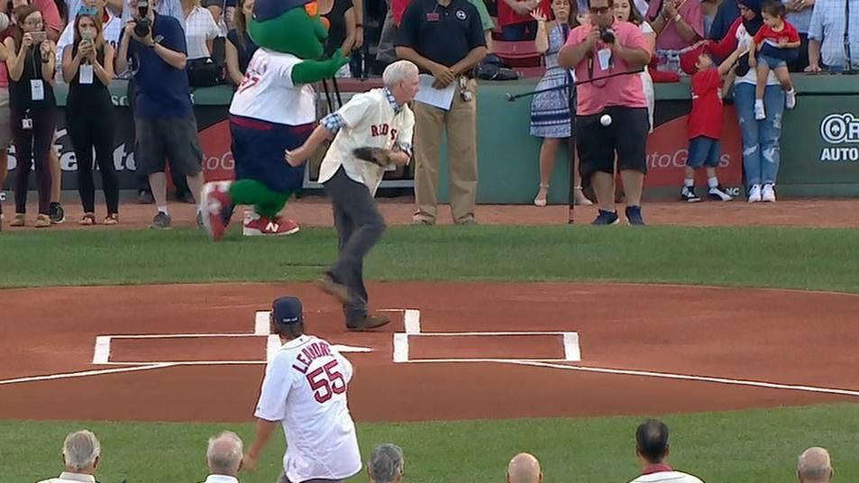 Red Sox fan's first pitch is a bit outside