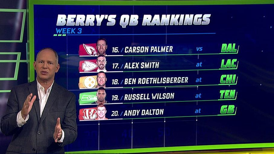 Big Ben is Berry's No. 18 QB in Week 3