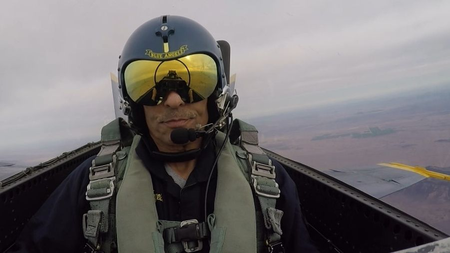 Herm flies with the Blue Angels