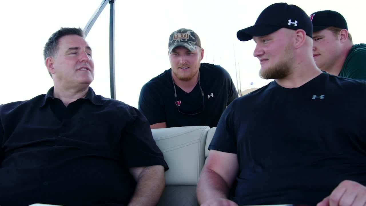Matich fishes with Wisconsin's offensive line