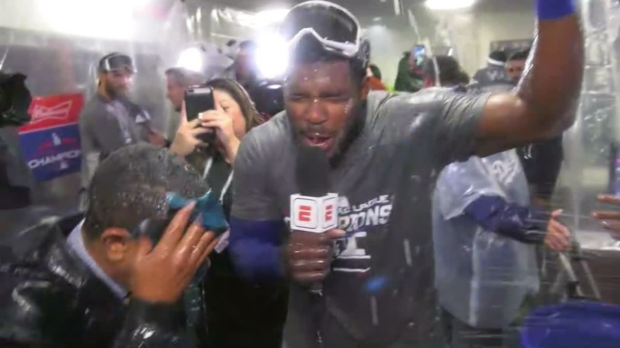 Puig drenches reporter with water