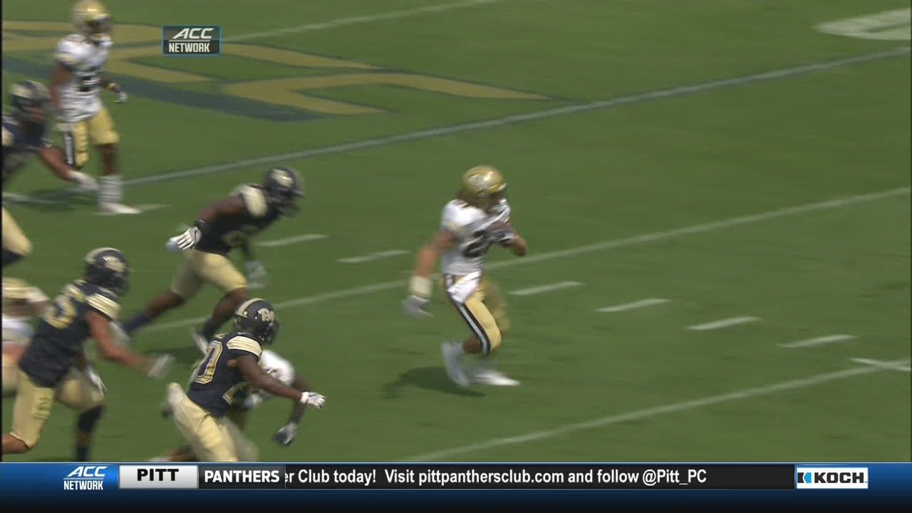 Georgia Tech's Weimerskirch spins into the end zone for a  TD