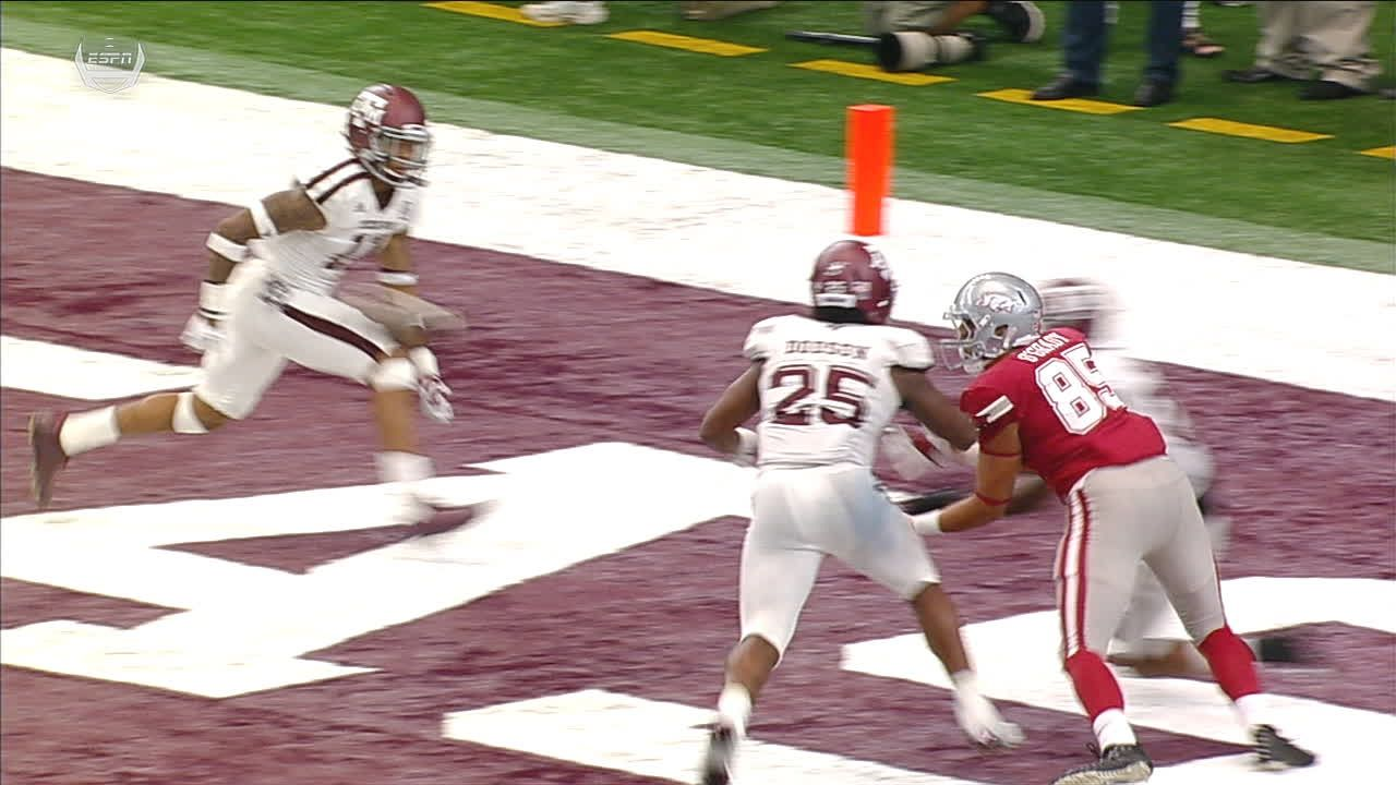 Razorbacks' Allen pass intercepted in end zone to end game