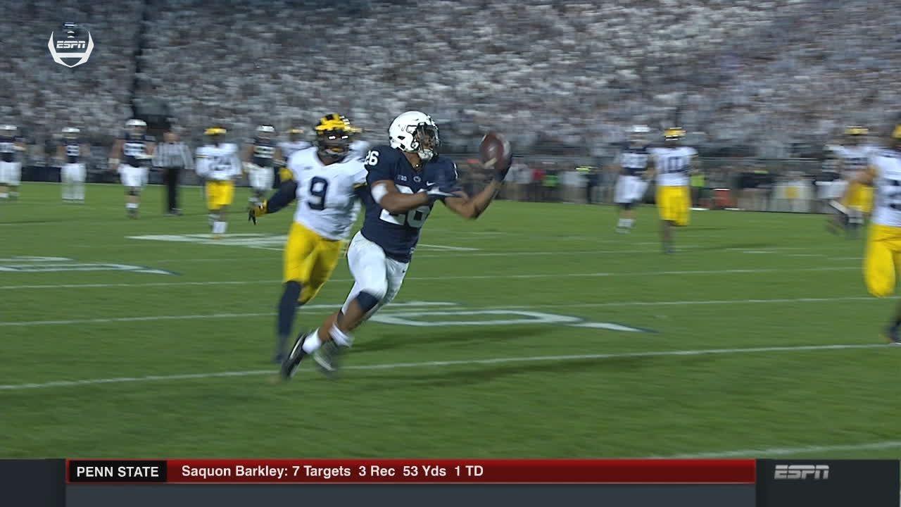 Barkley bobbles and scores big TD