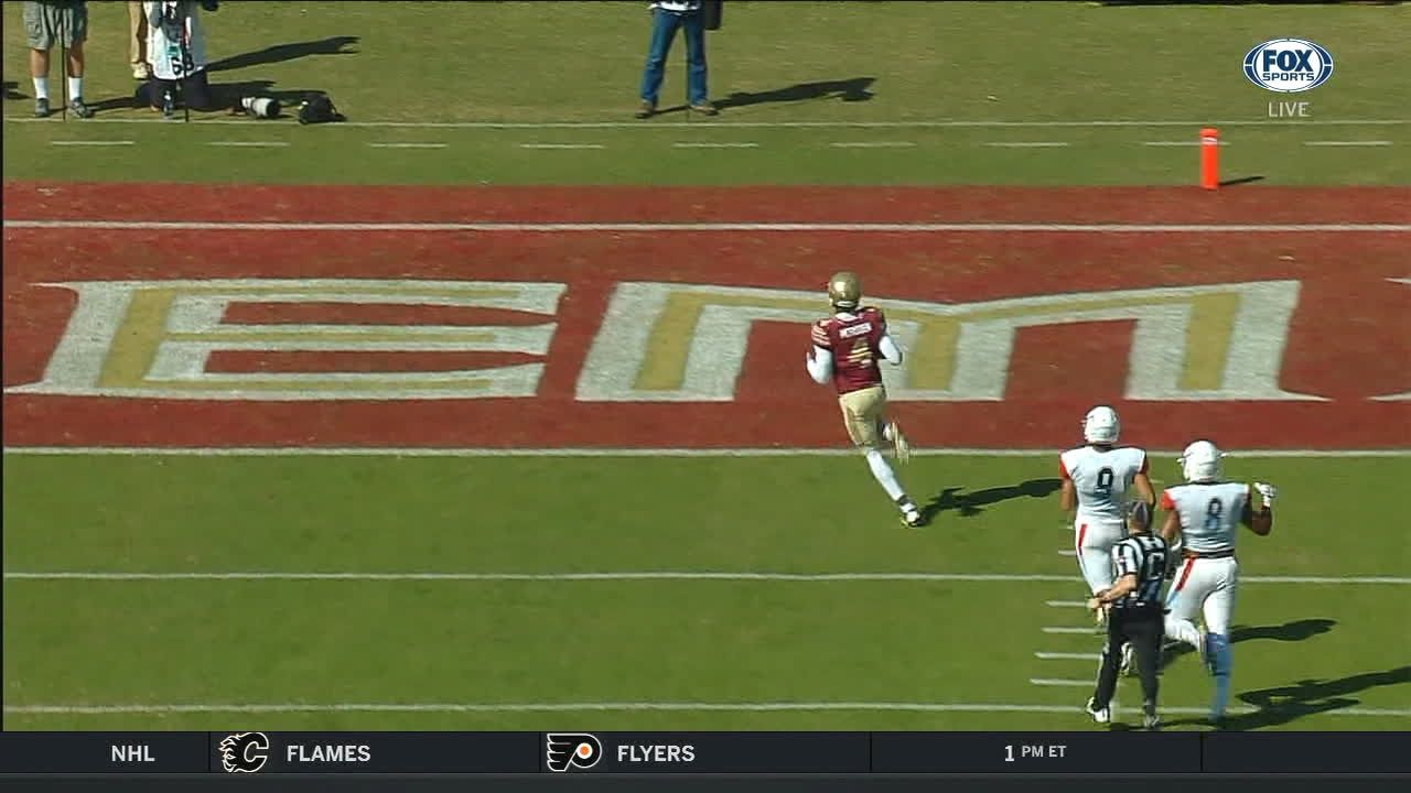 Florida State's Christmas blocks the field goal attempt and McFadden returns it for TD