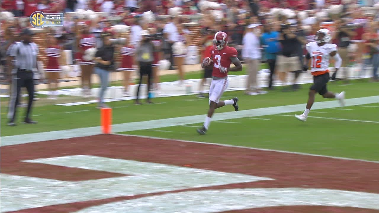 Alabama's Hurts finds Ridley for 66-yard TD pass