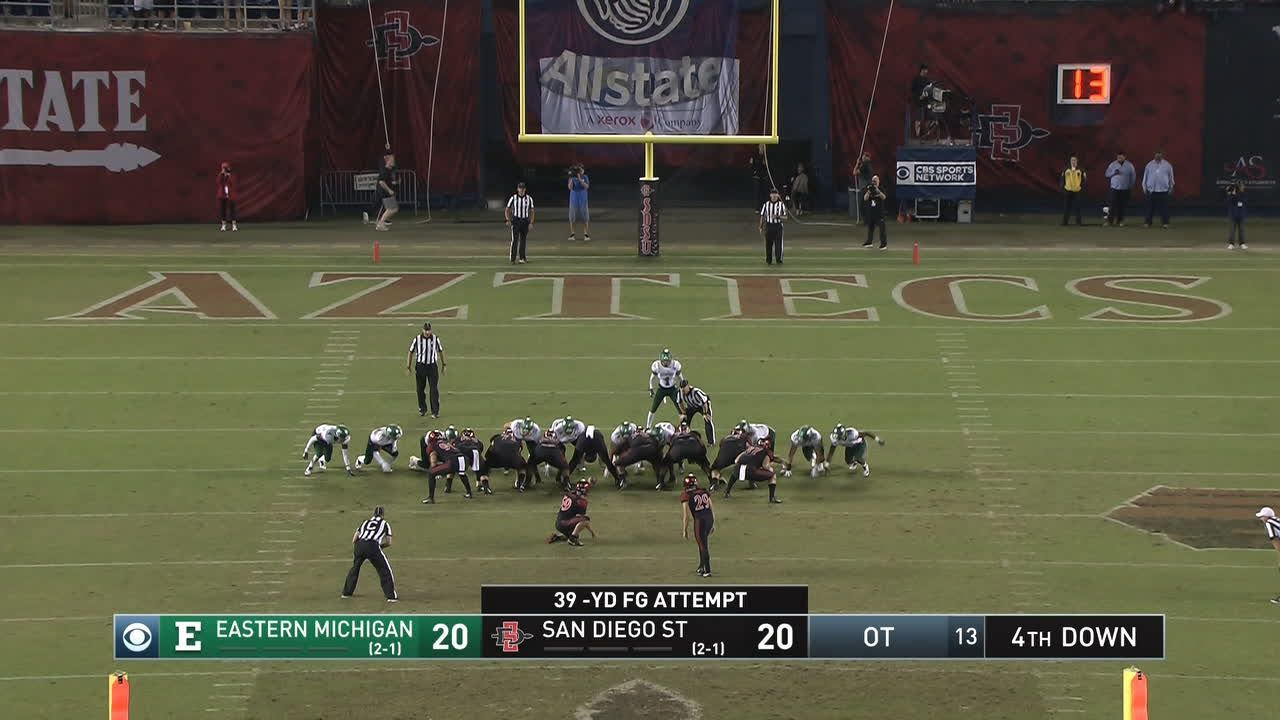 Baron, Agnew help San Diego St. beat E. Michigan 23-20 in OT
