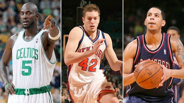 Kevin Garnett, David Lee and Devin Harris