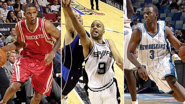Trevor Ariza, Tony Parker, and Chris Paul