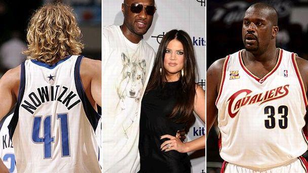 Dirk Nowitzki, Khloe Kardashian and Shaquille O'Neal