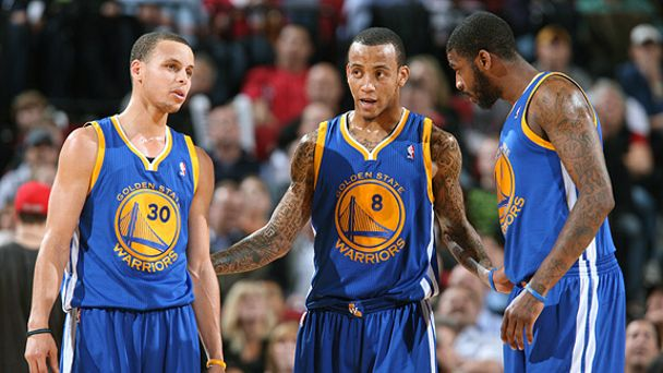 Stephen Currym, Monta Ellis and Dorell Wright