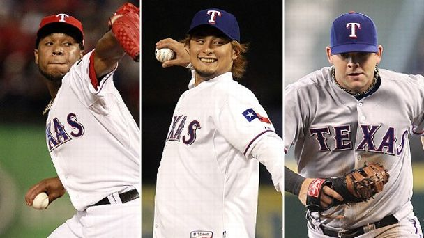 Neftali Feliz, Yu Darvish, and Mitch Moreland
