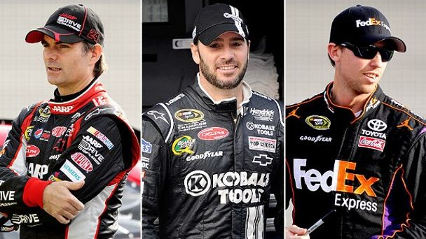 Jeff Gordon, Jimmie Johnson and Denny Hamlin