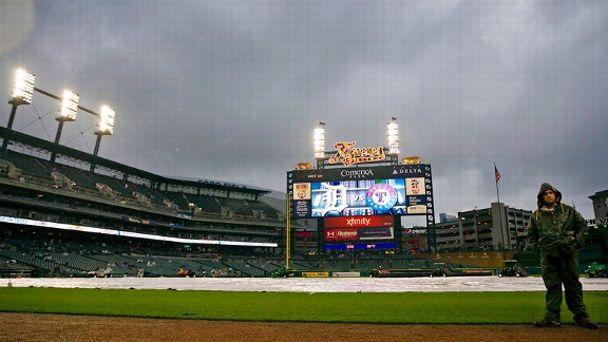 Detroit Tigers and Texas Rangers rain delay