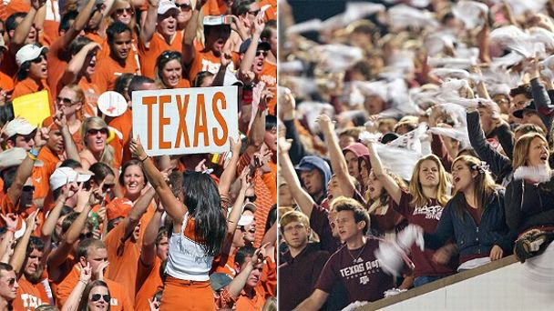 Texas Longhorns and Texas A&M Aggies fans