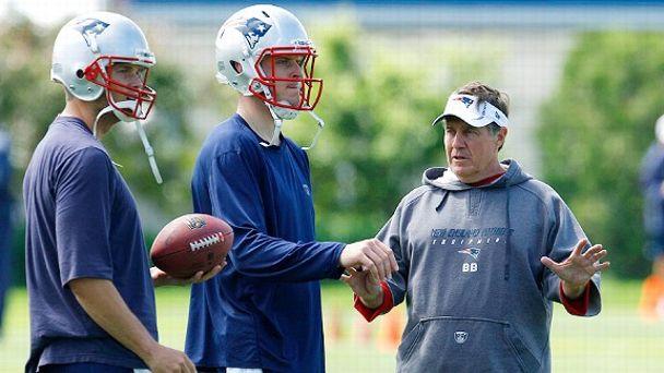 Bill Belichick with quarterbacks