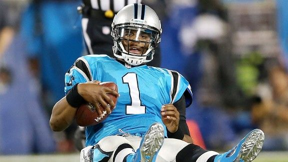 Cam Newton after getting sacked by the New York Giants