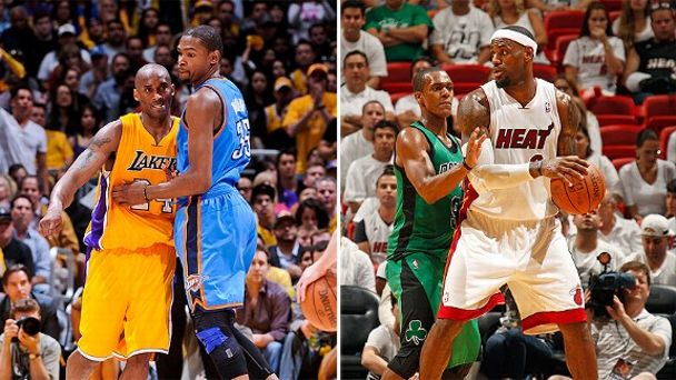Kobe Bryant, Kevin Durant, LeBron James and Rajon Rondo