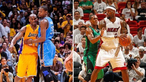 Kobe Bryant, Kevin Durant, LeBron James and Rajon Rondo