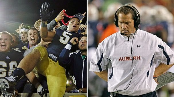 Manti Te'o and Gene Chizik