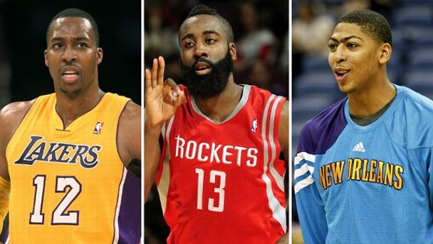 Dwight Howard, James Harden and Anthony Davis