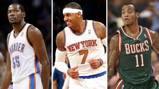 Kevin Durant, Carmelo Anthony and Monta Ellis